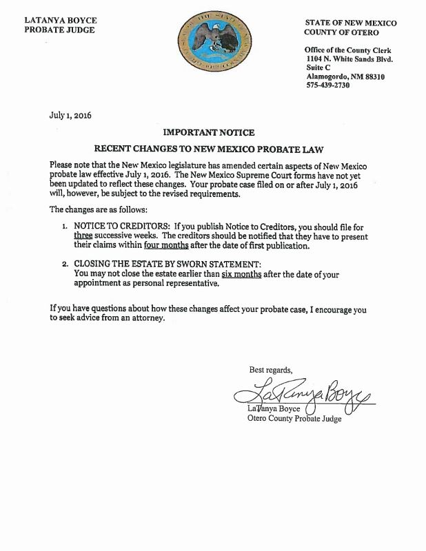 Important Notice Recent Changes to New Mexico Probate Law