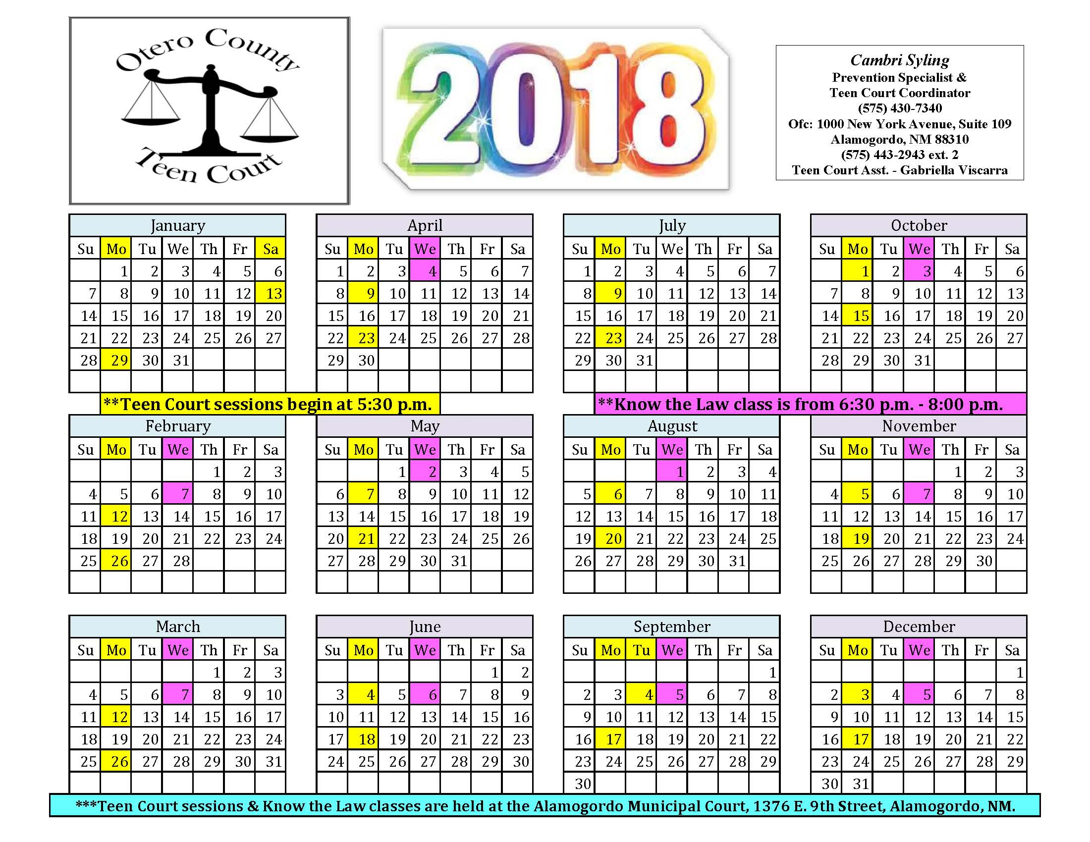2018 Teen Court Schedule